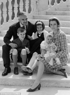 Celebrate: The royal couple posed on the steps of the palace with their children: Princess Stephanie , 14 months; Princess Caroline, 9; and Prince Albert, 8 on their 10th wedding anniversary