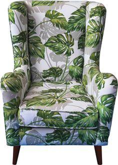 Mit diesem Ohrensessel bringt ihr Farbe und Komfort in euer Wohnzimmer! Das auffällige Blättermotiv lässt dieses Sitzmöbel zu einem ganz besonderen Hingucker werden. Die in unterschiedlichen Grüntönen entworfenen Palmenblätter werden durch dezente hellgraue Schattierungen akzentuiert. Ob ihr ein Buch lest oder eure Lieblingssendung im Fernsehen schauen wollt - mit diesem Sessel könnt ihr viele freie Stunden in vollen Zügen genießen!