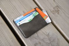 Minimalist Leather Wallet, Handmade Wallets, Credit Card Wallet, Leather Accessories, Tan Leather, Hand Stitching, Initials, My Etsy Shop, Card Holder