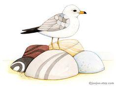 Seagull print, seagull painting, coastal cottage decor, art print, watercolor painting, watercolor print, bird art, Fine art print, 8x10