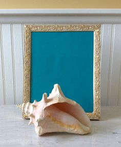 Vintage Gold & Whitewashed Embossed Floral 8 X 10 MetalPicture Frame, Shabby Chic, Hollywood Regency, Wedding, French Country, Mid Century