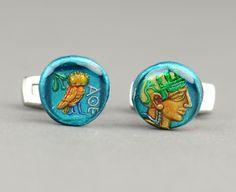Greece Athens Drachm 5th century Cufflinks. $85.00, via Etsy.