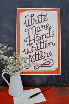 Write More Handwritten Letters. On Etsy from Mary Kate McDevitt. Handwritten Letters, Typography Letters, Cursive, The Maxx, Modern Crafts, Letter Writing, Love Letters, Inspire Me, Wise Words