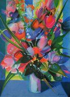 Bouquet bleu, Lithographie, du peintre, CAMILLE, HILAIRE, Signée et numérotée au crayon