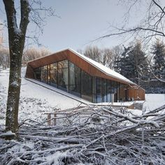 Entitled Dutch Mountain, the house emerges from the hill on the southern and western sides, where a panelled wall of glazing folds around a staggered living room and kitchen.