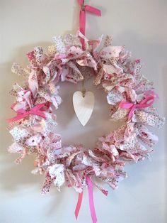 pink shabby chic rag wreath   docrafts.com