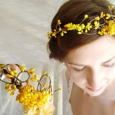 autumn wedding hair crown - PIXIE - bridal, yellow flower girl head wreath. $82.00, via Etsy.