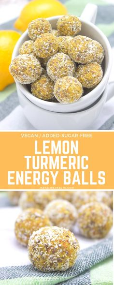Recipes For Diabetics These Lemon Turmeric Energy Balls are just amazing. They are loaded with flavor and powerful SUPERFOODS – turmeric and chia seeds. These immune boosting, added-sugar-free power balls are perfect healthy snack. Turmeric Recipes, Detox Recipes, Snack Recipes, Dessert Recipes, Healthy Recipes, Healthy Snacks For Diabetics, Desserts, Beef Recipes, Easy Recipes