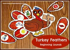 Turkey Feathers activities:  Beginning Sounds, Word Families and an addition FREEBIE!