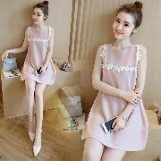 韓國宮庭復古高貴風粉紅色x白色花花圖案顯瘦寬鬆背心連衣裙/連身裙 Size:L  100000%new(未剪牌) 購至:韓國