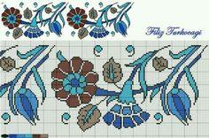 Designed by Filiz Türkocağı Cross Stitch Borders, Cross Stitch Flowers, Cross Stitch Designs, Cross Stitching, Cross Stitch Patterns, Folk Embroidery, Cross Stitch Embroidery, Embroidery Patterns, Blackwork