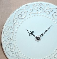 PALE TEAL SHABBY CHIC CERAMIC PLATE CLOCK