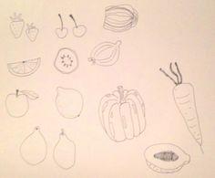 Diverse tekeningen voor logo Bij Elles
