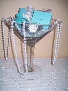 Breakfast at Tiffany's Centerpiece idea. Use one of our diamond paperweights, and keep it on your desk afterwards as a remembrance.