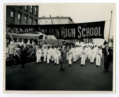 Students from East Harlem, New York's Benjamin Franklin High School, marching in the Sanitation Campaign/East Harlem parade.