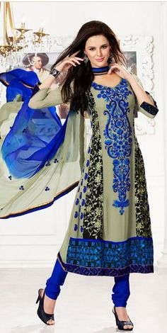 $101.21 Blue Full Sleeve Georgette Long Anarkali Salwar Kameez 18754