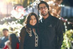 Fahad Mustafa with wife.