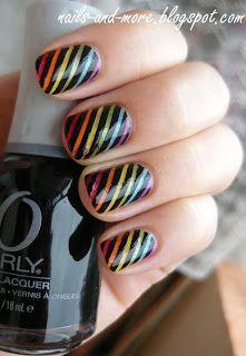 Girl stuff: Rainbow stripes Nail art
