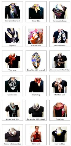 Hermès scarves - how to knot, tie and drape http://maitaicollection.com/pages/tutorials-1