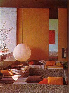 Ambrosial Home Interior Vintage Ideas 1970s Decor, 70s Home Decor, Orange Home Decor, Orange Interior, Mid-century Interior, 1980s Interior, Sunken Living Room, Living Room Decor, 1970s Living Room