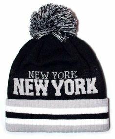 2b81d304524 City Hunter Sk920 New York Stirpe City Pom Pom Knit Hat (Black light grey)  City Hunter.  13.98