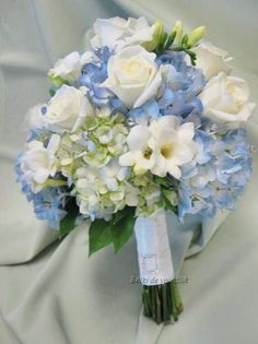 Hottest 7 Spring Wedding Flowers to Rock Your Big Day---pale blue, lilac hydrangea and white roses wedding flowers, diy bridal bouquet on a budget, spring weddings, Prom Flowers, Spring Wedding Flowers, Bridal Flowers, Rose Wedding, Floral Wedding, Trendy Wedding, Wedding Vintage, Wedding Beauty, Luxury Wedding