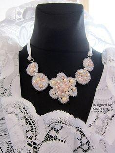White Pearl Statement Necklace Swarovski Pearls Swarovski