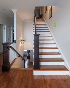 Minwax English Chestnut Stain on Narrow Oak Boards Like the stain and the 2 color approach to the stairs
