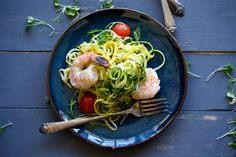 Zucchini Noodles with Shrimp by upcloseandtasty #Noodles #Zucchini #Shrimp #Healthy #Light