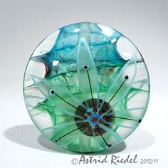 Cool Lampwork Glass Art Bead by Astrid Riedel ♥•♥•♥FAB♥•♥•♥