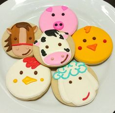 Custom Decorated Gourmet Farm Animal Sugar Cookie Favor Horse Pig Cow Chicken…