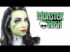 A Frankie Stein Monster High makeup tutorial from the super-talented Ashlea Henson. If you love Monster High, you won't want to miss this! Monster High Make Up, Monster High House, Monster High Birthday, Monster High Party, Face Painting Tutorials, Face Painting Designs, Maquillaje Monster High, Trajes Monster High, Halloween Make Up