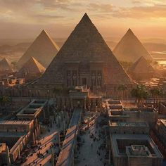 Did you know that about Egypt? *The name of Egypt in the ancient Egyptian language was KEMET means the black land referring to the strong… Fantasy City, Fantasy Places, Fantasy Art Landscapes, Fantasy Landscape, Ancient Egypt Art, Ancient History, Ancient Egyptian Cities, Ancient Tomb, European History