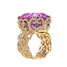 Isabelle Ring by Erica Courtney ~ 18k yellow gold with a 37.27ct kunzite, 0.82ct purple sapphires and 1.92ct of diamonds