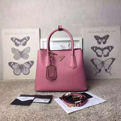 Prada Spring 2016 Double Bags Outlet-Prada Tote Bag in Pink Saffiano Cuir Leather 1BG887-PINK