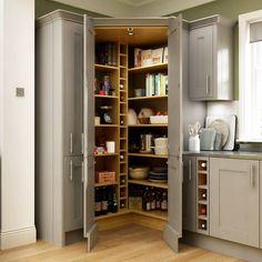 New Kitchen Corner Pantry Layout Interior Design 36 Ideas Benchmarx Kitchen, Corner Kitchen Pantry, Kitchen Pantry Design, Kitchen Pantry Cabinets, Design Your Kitchen, Kitchen Storage, Kitchen Decor, Corner Larder Cupboard, Kitchen Ideas