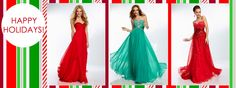 Some long dresses for a holiday dance. Holiday Formal Dresses, Mori Lee, Long Dresses, Happy Holidays, Chiffon, Dance, Cute, Red, Fashion