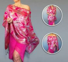 Metallic Silver And Pink Shawl :: Hot Pink Wedding Wrap :: Evening Wear By ZiiCi. Dare to be noticed in this bright pink and silver shawl. Made of silk and cashmere, you can wear it as a wrap, cape, scarf, kimono, tunic and more. With its unique elastic neckline, you can easily adjust a ZiiCi shawl to fit dozens of different ways. Just pull the inner cord lock and in an instant you've got a whole new outfit. The shimmering silver in this fabric makes it a gorgeous accessory for a wedding...