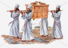 Illustration of four priests carrying the Ark of the Covenant and crossing the River Jordan Stock Illustration