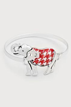 Elephant Bracelet in Ruby Houndstooth on Emma Stine Limited