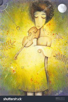 Young Woman Playing The Violin by Eugene Ivanov. #eugeneivanov #elegant #woman #portrait #lady #painting #art #nude #cubism #girl #female #femina #@eugene_1_ivanov
