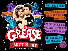 Create Grease party invitations to send to your guests about your outdoor movie night - Southern Outdoor Cinema event planning tip for promoting an outdoor event.