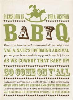 'Baby Q' Shower idea for a little cowboy- darling!