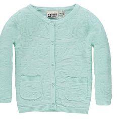 Utrolig smuk mintfarvet cardigan i flot mønster fra Tumble'n Dry.  Cardiganen har dekorative små lommer foran.  Materiale: 100% bomuld.  Vaskeanvisning: 30 grader - på vrangen.