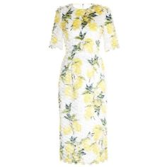 Dolce & Gabbana Lemon-print fil coupé dress (€3.140) ❤ liked on Polyvore featuring dresses, yellow, white textured dress, textured dress, yellow dress, tiered dress and print dress