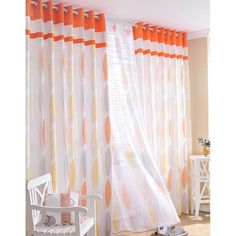 Orange Bright Casual Sheer Curtain (Two Panels) – US$ 74.99