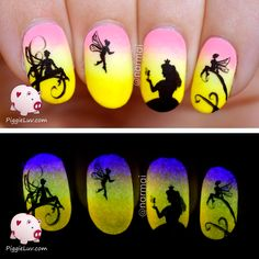 PiggieLuv: Freehand Epic Princess Story (5 glow in the dark manis!!!) Faeries nail art, continuous design