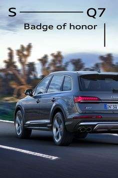 Sporty down to the smallest detail. The Audi SQ7 – an SUV with attitude. #Audi #AudiSQ7 -------------------- Fuel consumption combined: 12.1 – 12.0 l/100 km; CO2- emissions combined: 278 – 276 g/km // Further information: www.audi.com/dat  Audi Sq7, 100 Km, Badge, Sporty, Badges