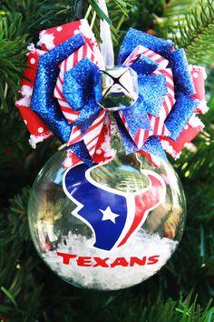 NFL Houston Texans Football College Basketball Soccer Cheerleading Sports Team Hand Painted Custom Christmas Glass Ornament Ball. $19.99, via Etsy.