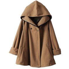 Camel Hooded Long Sleeve Woolen Cape Coat